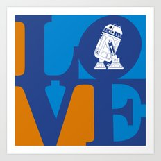 Robot LOVE - Blue Art Print