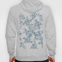 Vintage blue white bohemian elegant floral Hoody