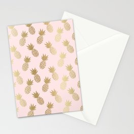 Pink & Gold Pineapples Stationery Cards