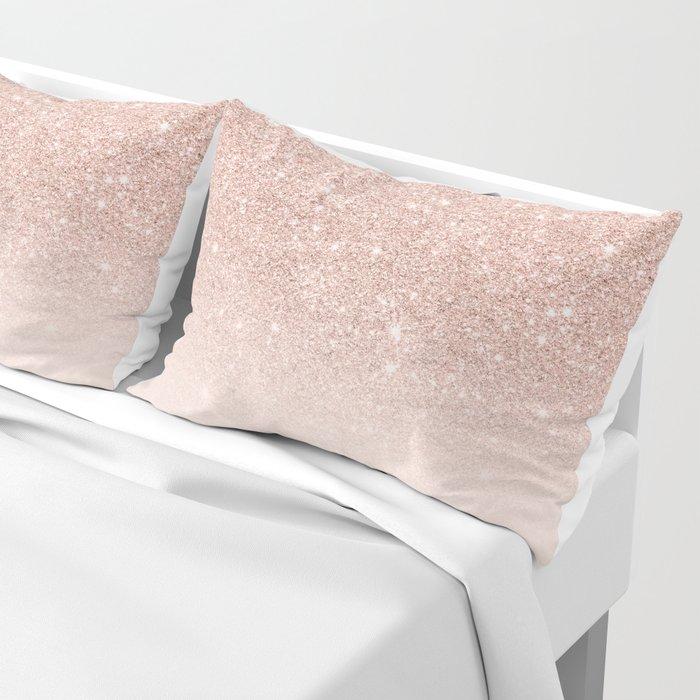 Rose gold faux glitter pink ombre color block Pillow Sham