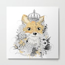 little fox with crown Metal Print