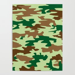 Camouflage Print Pattern - Greens & Browns Poster