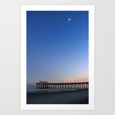 Moon over Tybee Island Pier Art Print