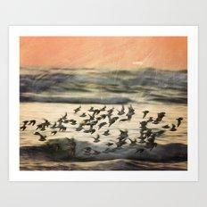 Flock over ocean Art Print
