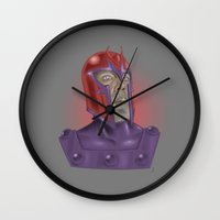 magneto Wall Clocks featuring Magneto by Matthew Bartlett