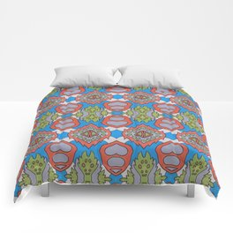 Wilma - Symmetrical Abstract Art in Blue, Orange and Green Comforters