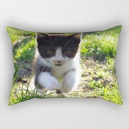 A Tuxedo Kitten Named Seven Rectangular Pillow