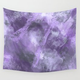 Stormy Abstract Art in Purple and Gray Wall Tapestry