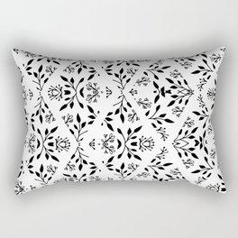 Abstract geometrical black white floral pattern Rectangular Pillow