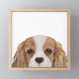 Cavalier King Charles Spaniel Dog illustration original painting print Framed Mini Art Print