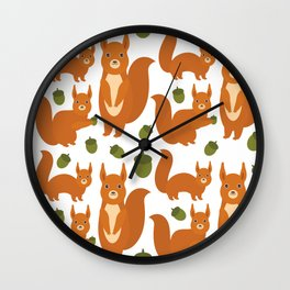 Seamless pattern Set of funny red squirrels with fluffy tail with acorn  on white background Wall Clock