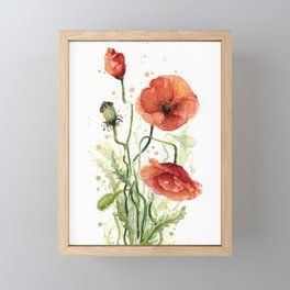Red Poppies Watercolor Framed Mini Art Print