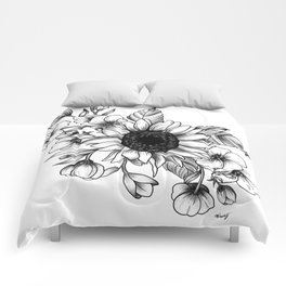 Bouquet of Flowers with Sunflower / Fall floral lineart Comforters