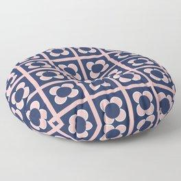 Scandi Flower Minimalist Mid Century Floral Pattern 2 in Pink, White, and Navy Blue Floor Pillow
