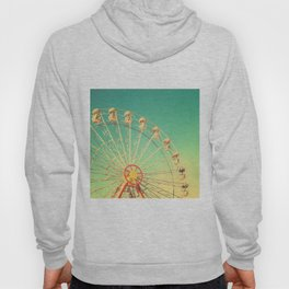 All the happy days - Carnival, ferris wheel , turquoise green, vintage retro, fall autumn, blue sky Hoody