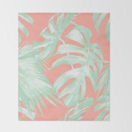Island Love Coral Pink + Light Green Throw Blanket
