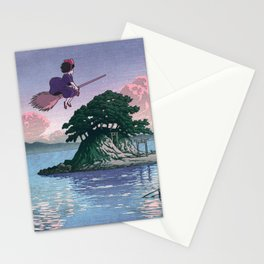 Kiki's Delivery Service and vintage japanese woodblock mashup Stationery Cards