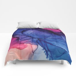 Pondering- Blue and Blush- Alcohol Ink Painting Comforters