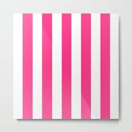Barbie Pink (2004-2005) - solid color - white vertical lines pattern Metal Print