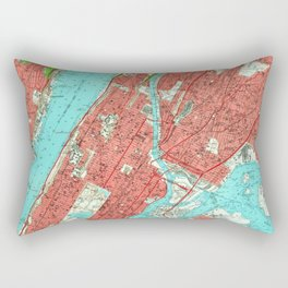 Vintage Map of Uptown Manhattan & The Bronx (1956) Rectangular Pillow