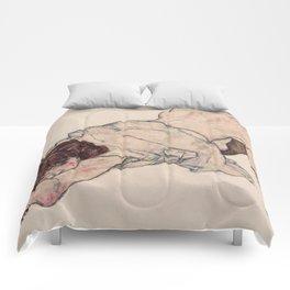 KNEELING GIRL, RESTING ON BOTH ELBOWS - EGON SCHIELE Comforters