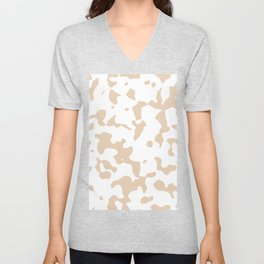 Large Spots - White and Pastel Brown Unisex V-Neck