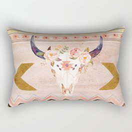 Bull Head Skull Boho Flowers Rectangular Pillow