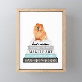 Pom, pomeranian, Books, Fashion books, Teal, Fashion, Fashion art, fashion poster Framed Mini Art Print
