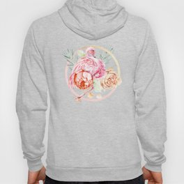 Shimmering Rose Gold Flamingo With Flowers And Fronds Hoody