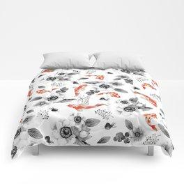 Colorful orange black white watercolor floral koi fish Comforters