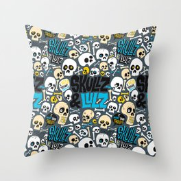 Skullz & Lulz Pattern Throw Pillow