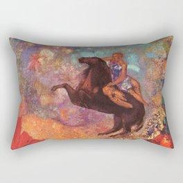 "Odilon Redon ""Muse on Pegasus"" Rectangular Pillow"