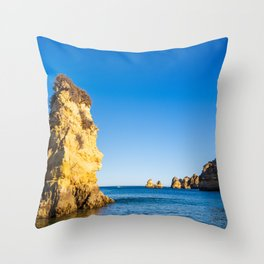 Turquoise waters and cliffs of Praia Dona Ana beach in Algarve, Portugal Throw Pillow