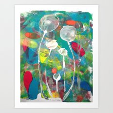 Multicoloured Poppyheads Art Print