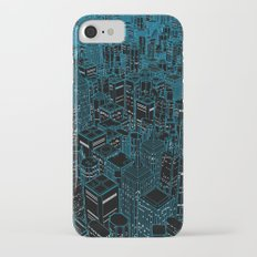 Night light city / Lineart city in blue iPhone 7 Slim Case