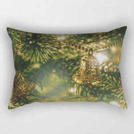 Gold Bells on Christmas Tree Rectangular Pillow