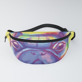FRENCH BULLDOG COLORFUL WATERCOLOR ILLUSTRATION Fanny Pack