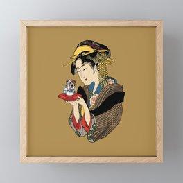 Tea Time with English Bulldog Framed Mini Art Print
