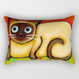 Siamese cat nervous siamese kitty on a cherry pillow art by Tascha Rectangular Pillow