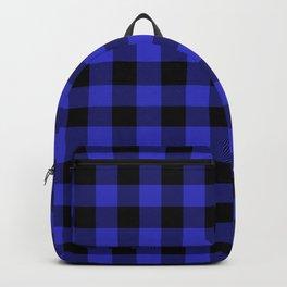 Jumbo Cornflower Blue and Black Rustic Cowboy Cabin Buffalo Check Backpack