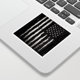 White Grunge American flag Sticker