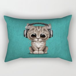 Cute Kitten Dj Wearing Headphones on Blue Rectangular Pillow