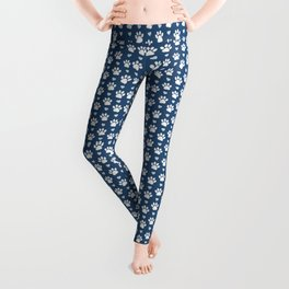 Dog Paws, Traces, Animal Paws, Hearts - Blue White Leggings