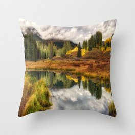 Transition Of The Seasons in Rocky Mountains Colorado by OLena Art Throw Pillow