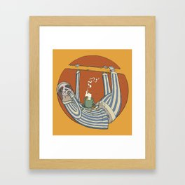 Sloth enjoying breakfast. Framed Art Print