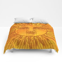 Sun vintage orange Comforters
