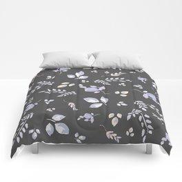 Spring watercolor leaves & tulips on dark grey background Comforters