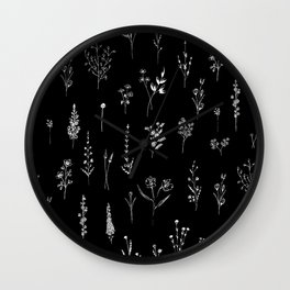 Black wildflowers Wall Clock