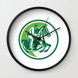 Equestrian Show Jumping Side Circle Retro Wall Clock