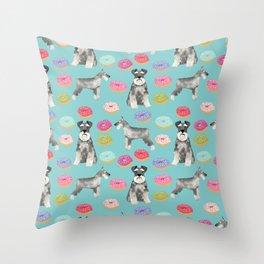 Schnauzer dog breed donuts doughnut pet art schnauzers pure breed gifts Throw Pillow